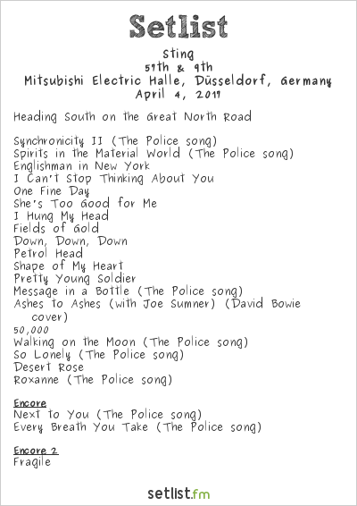 Sting Setlist Mitsubishi Electric Halle, Düsseldorf, Germany 2017, 57th & 9th
