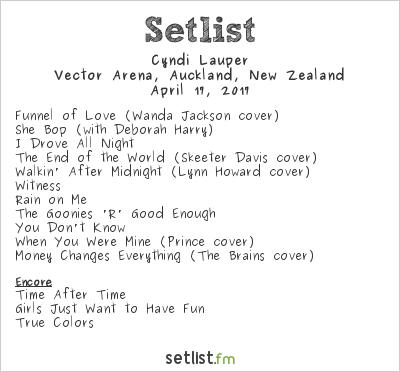Cyndi Lauper Setlist Vector Arena, Auckland, New Zealand 2017