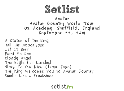 Avatar Setlist O2 Academy, Sheffield, England 2018