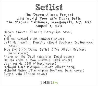 The Devon Allman Project Setlist The Stephen Talkhouse, New York, NY, USA 2018