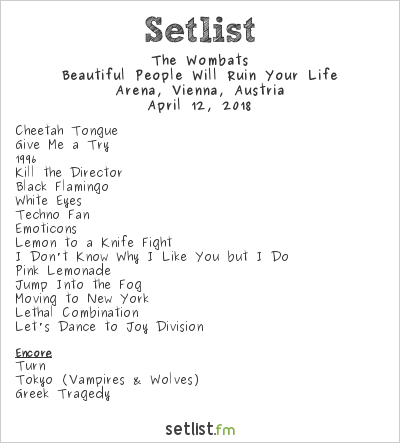 The Wombats Setlist Arena, Vienna, Austria 2018, Beautiful People Will Ruin Your Life