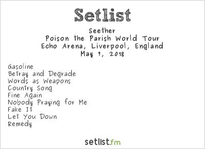 Seether Setlist Echo Arena, Liverpool, England 2018