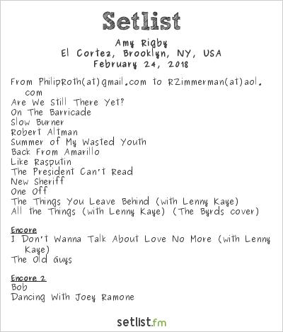 Amy Rigby at El Cortez, Brooklyn, NY, USA Setlist