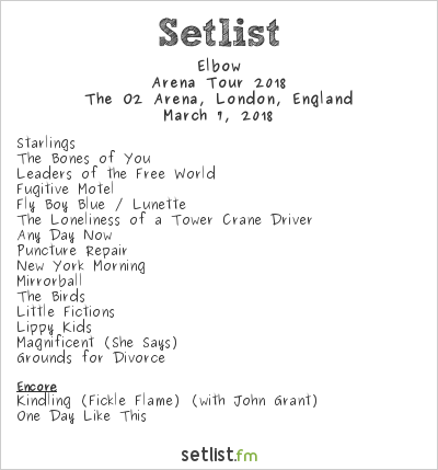 Elbow Setlist The O2 Arena, London, England, Arena Tour 2018