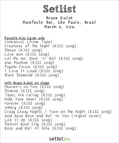 Bruce Kulick Setlist Manifesto Bar, São Paulo, Brazil 2016