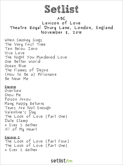 ABC Setlist Theatre Royal Drury Lane, London, England 2015, Lexicon of Love