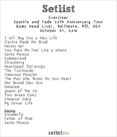 Everclear Setlist Rams Head Live!, Baltimore, MD, USA 2015, Sparkle and Fade 20th Anniversary Tour