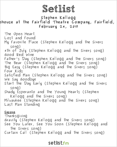 Stephen Kellogg Setlist The Warehouse, Fairfield, CT, USA 2017