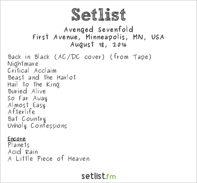 Avenged Sevenfold Setlist First Avenue, Minneapolis, MN, USA 2016