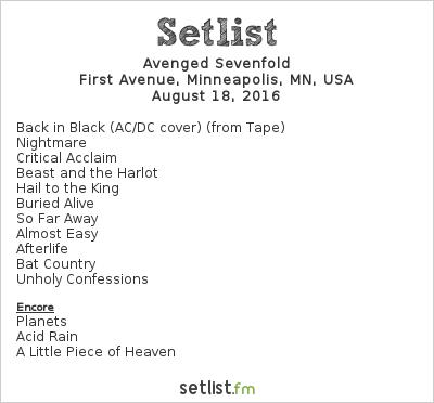 Avenged Sevenfold Setlist First Avenue, Minneapolis, MN, USA 2016