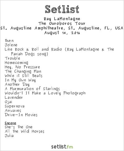 Ray LaMontagne Setlist St. Augustine Amphitheatre, St. Augustine, FL, USA 2016, The Ouroboros Tour