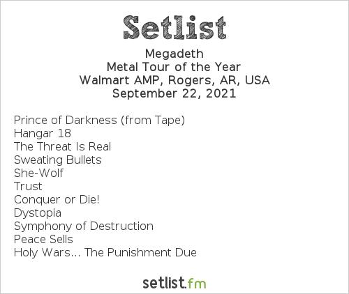 Megadeth Setlist Walmart AMP, Rogers, AR, USA 2021, Metal Tour of the Year