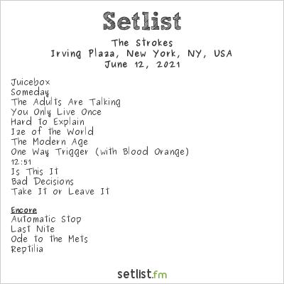 The Strokes Setlist Irving Plaza, New York, NY, USA 2021