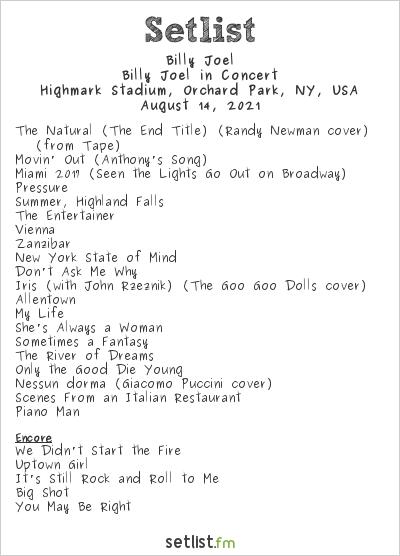 Billy Joel Setlist Highmark Stadium, Orchard Park, NY, USA 2021, Billy Joel In Concert