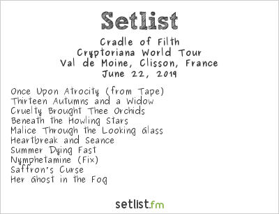 Cradle of Filth Setlist Hellfest 2019 2019, Cryptoriana World Tour