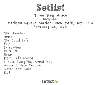 Three Days Grace Setlist Madison Square Garden, New York, NY, USA 2019, Outsider