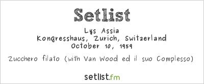 Lys Assia at Festival della Canzone Italiana di Zurigo 1959 Setlist