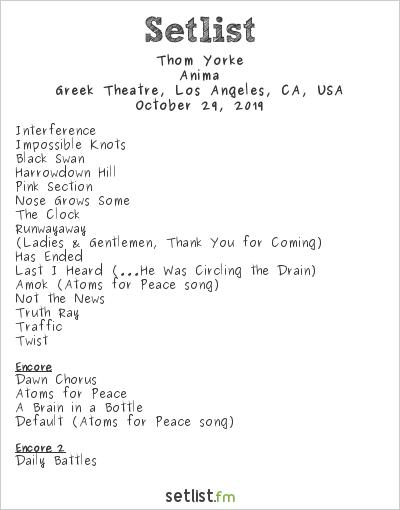 Thom Yorke Setlist Greek Theatre, Los Angeles, CA, USA 2019, Anima