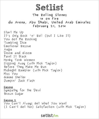 The Rolling Stones Setlist du Arena at Yas Island, Abu Dhabi, United Arab Emirates 2014, 14 on Fire