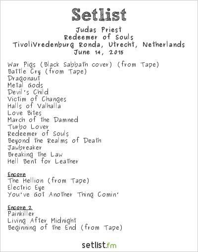 Judas Priest Setlist TivoliVredenburg, Utrecht, Netherlands 2015, Redeemer of Souls