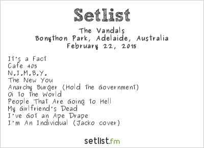 The Vandals Setlist Soundwave Adelaide 2015 2015
