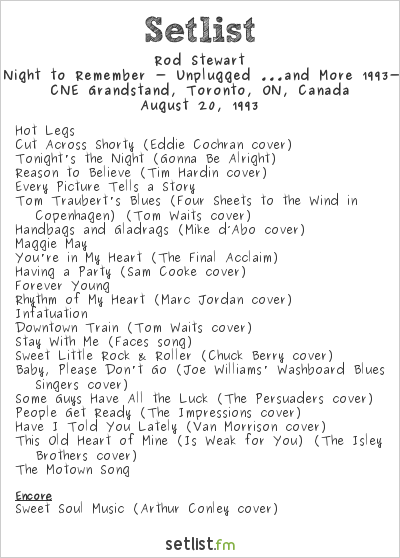 Rod Stewart Setlist CNE Stadium, Toronto, ON, Canada 1993, A Night to Remember Tour 1993 - Unplugged ...and More