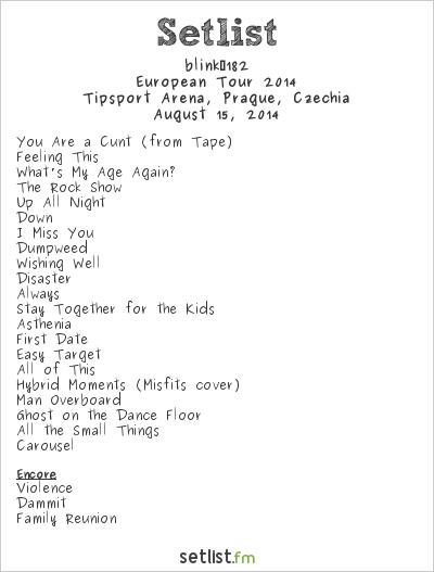 blink‐182 Setlist Tipsport Arena, Prague, Czech Republic, European Tour 2014