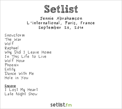 Jennie Abrahamson Setlist L'international, Paris, France 2014