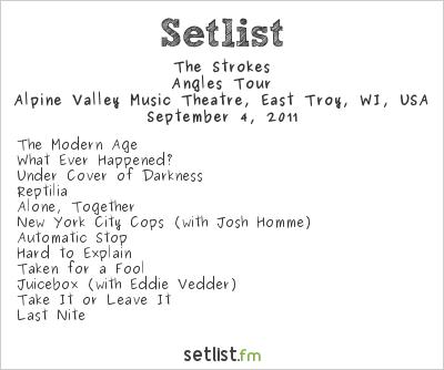 The Strokes Setlist PJ20 Festival 2011 2011, Angles Tour