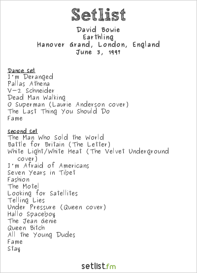 David Bowie Setlist Hanover Grand, London, England 1997, Earthling Tour