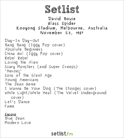 David Bowie Setlist Kooyong Stadium, Melbourne, Australia 1987, Glass Spider Tour
