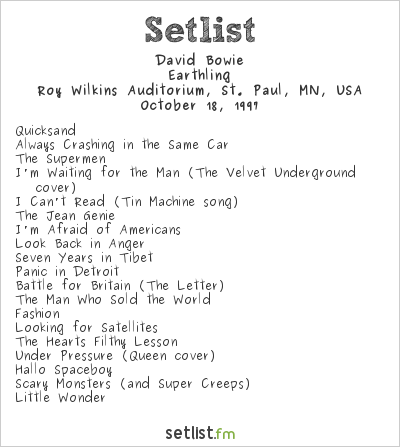 David Bowie Setlist Roy Wilkins Auditorium, St. Paul, MN, USA 1997, Earthling Tour