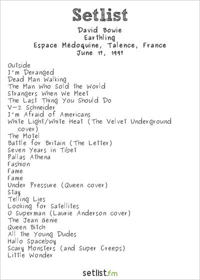 David Bowie Setlist Espace Médoquine, Talence, France 1997, Earthling