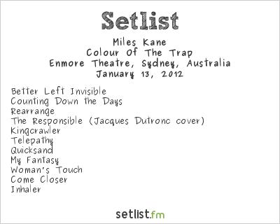 Miles Kane Setlist Enmore Theatre, Sydney, Australia 2012, Supporting Arctic Monkeys