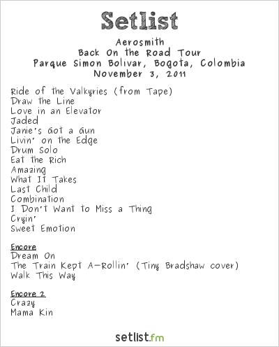 Aerosmith Setlist Parque Simón Bolívar, Bogotá, Colombia 2011, Back on the Road Tour