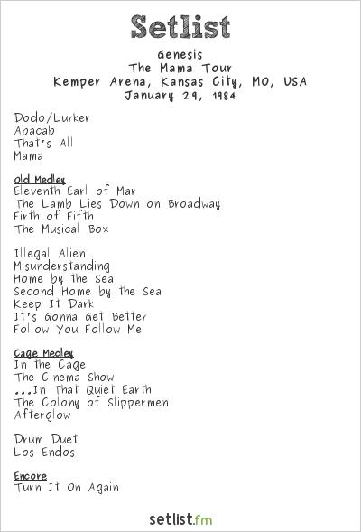 Genesis at Kemper Arena, Kansas City, MO, USA Setlist