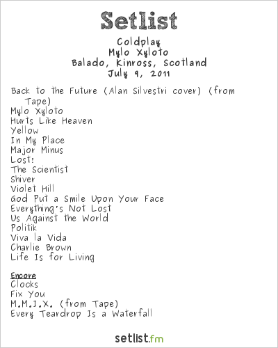 Coldplay Setlist T In The Park, Balado Station, Scotland 2011, 2011 Festival Tour