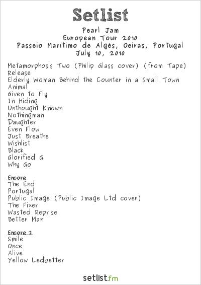 Pearl Jam Setlist Optimus Alive! 2010, European Tour 2010