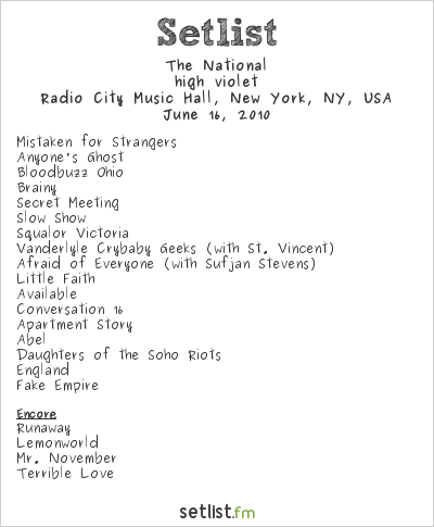 The National Setlist Radio City Music Hall, New York, NY, USA 2010, high violet