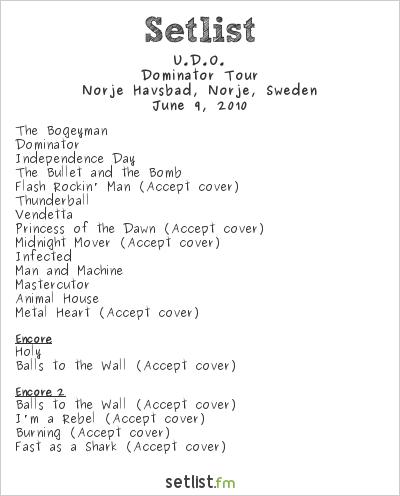 U.D.O. Setlist Sweden Rock Festival 2010 2010, Dominator Tour