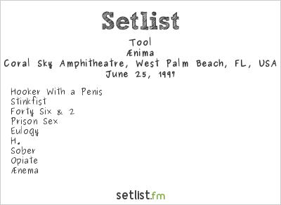 Tool Setlist Coral Sky Amphitheatre, West Palm Beach, FL, USA, Lollapalooza 1997