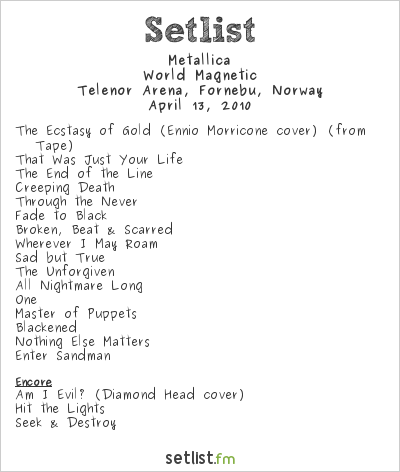 Metallica Setlist Telenor Arena, Oslo, Norway 2010, World Magnetic