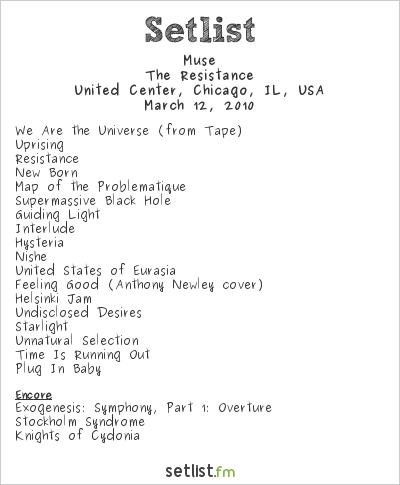Muse Setlist United Center, Chicago, IL, USA 2010, Resistance North American Arena Tour