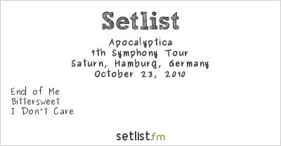 Apocalyptica Setlist Saturn, Hamburg-Mitte, Germany 2010, 7th Symphony Tour