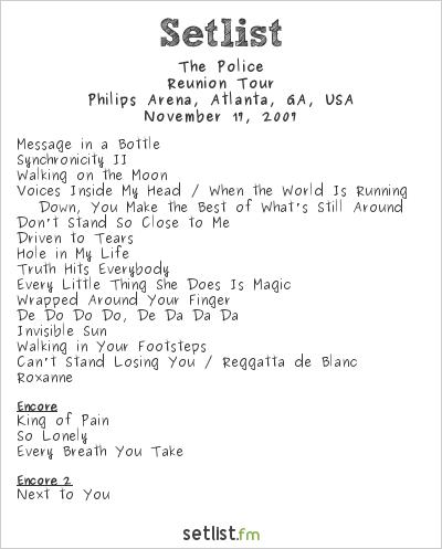 The Police at Philips Arena, Atlanta, GA, USA Setlist
