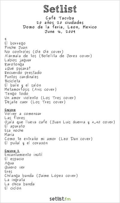 Café Tacvba Setlist Domo de la Feria 2009, 20 años 20 ciudades