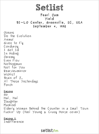 Pearl Jam Setlist BI-LO Center, Greenville, SC, USA 1998, Yield