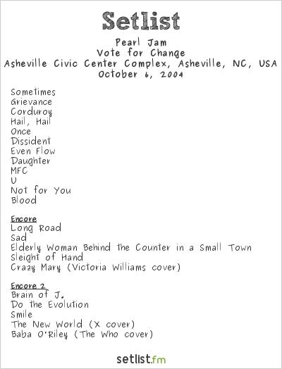 Pearl Jam Setlist Asheville Civic Center Complex, Asheville, NC, USA 2004, Vote For Change