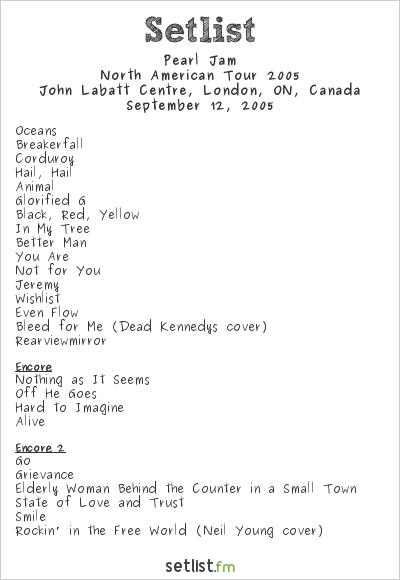 Pearl Jam Setlist John Labatt Centre, London, ON, Canada, North American Tour 2005