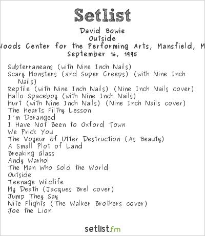 David Bowie Setlist Great Woods Amphitheater, Mansfield, MA, USA 1995, Dissonance